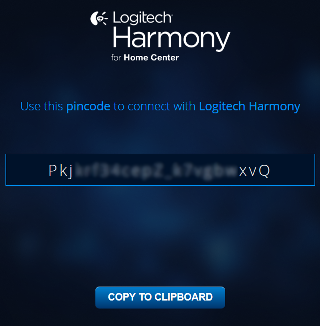 Logitech harmony setup window