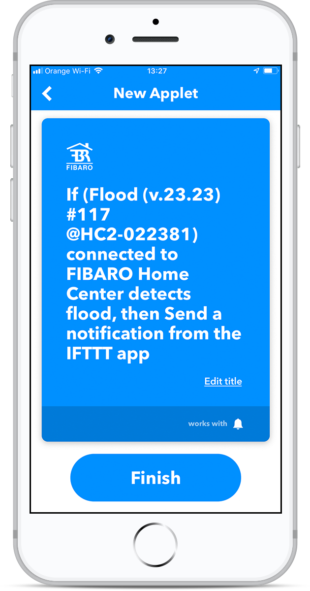 IFTTT: Get notified about water leakage | FIBARO Manuals